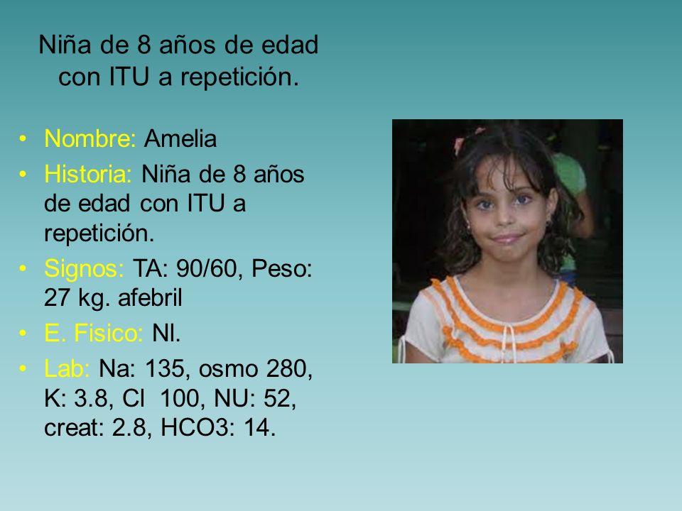 Niña de 8 años de edad con ITU a repetición. Nombre: Amelia Historia: Niña de 8 años de edad con ITU a repetición. Signos: TA: 90/60, Peso: 27 kg. afe