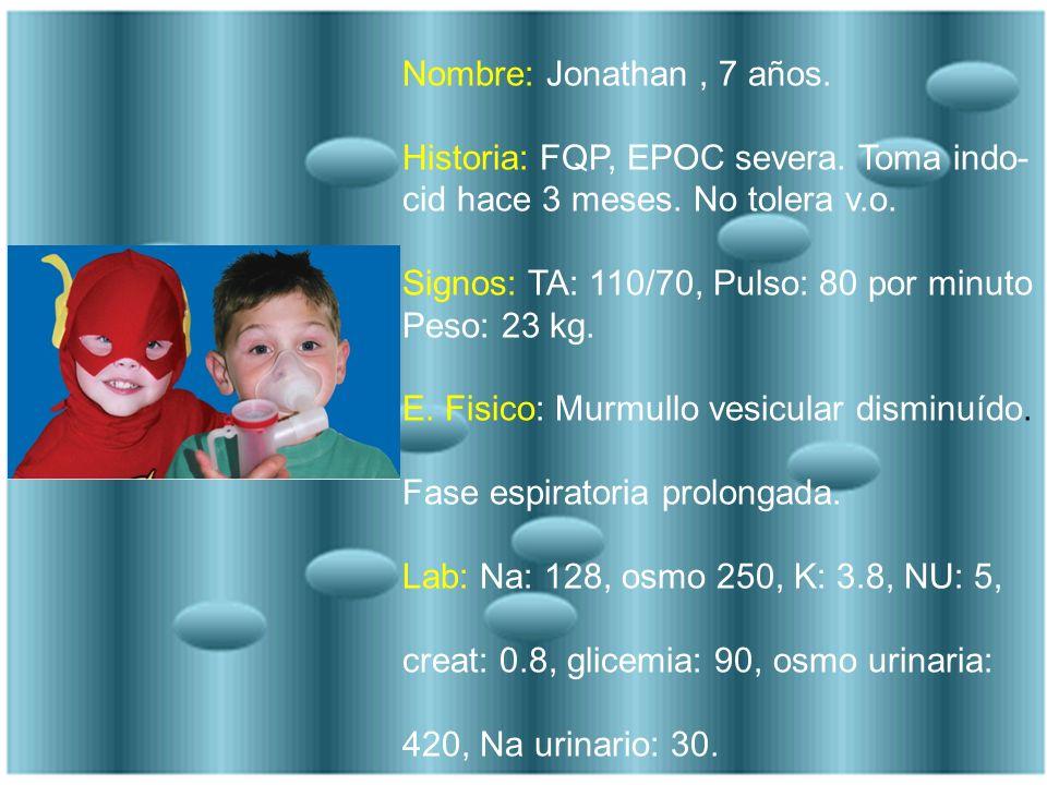 Nombre: Jonathan, 7 años. Historia: FQP, EPOC severa. Toma indo- cid hace 3 meses. No tolera v.o. Signos: TA: 110/70, Pulso: 80 por minuto Peso: 23 kg