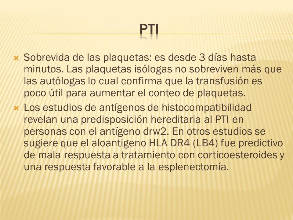 Sobrevida de las plaquetas: es desde 3 días hasta minutos. Las plaquetas isólogas no sobreviven más que las autólogas lo cual confirma que la transfus