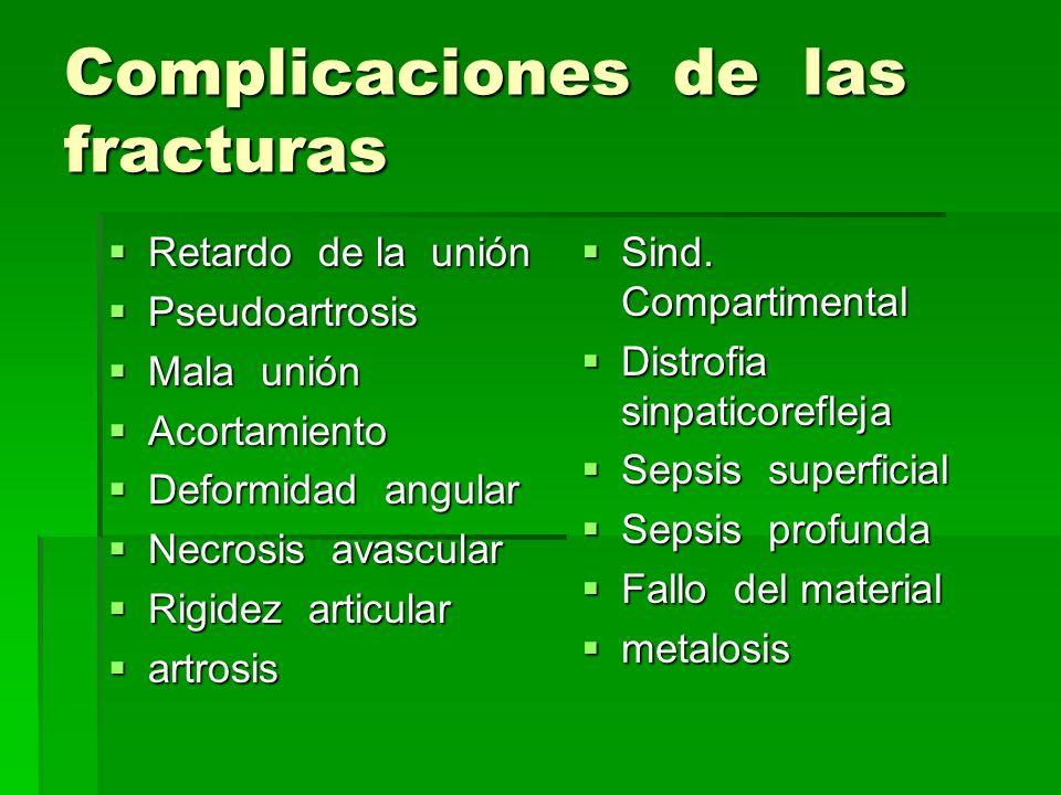 Complicaciones de las fracturas Retardo de la unión Retardo de la unión Pseudoartrosis Pseudoartrosis Mala unión Mala unión Acortamiento Acortamiento