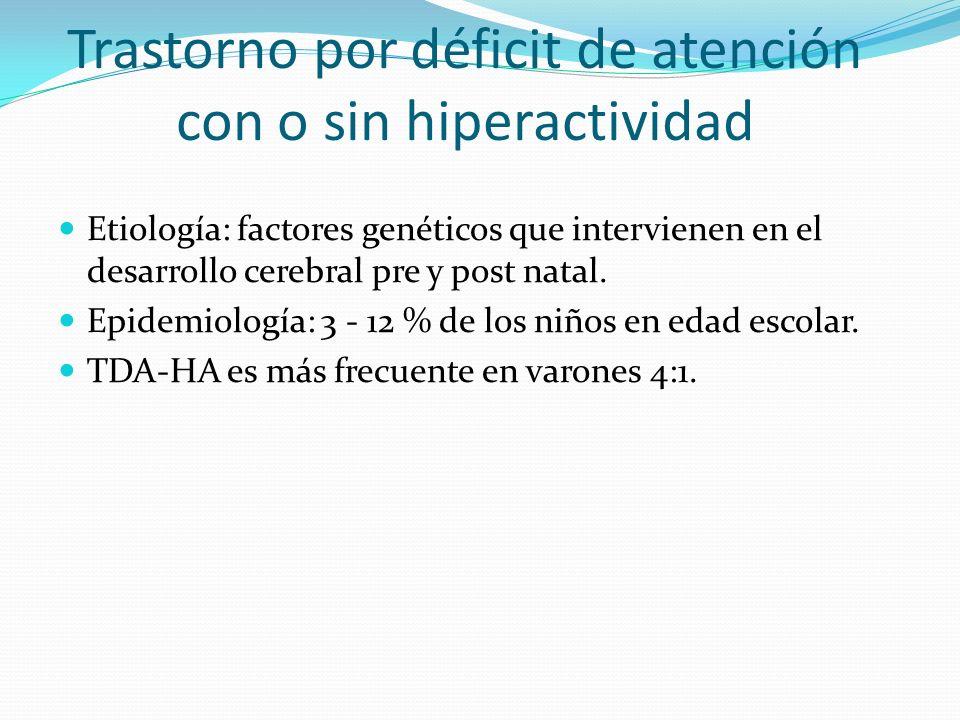 Trastorno por déficit de atención con o sin hiperactividad Etiología: factores genéticos que intervienen en el desarrollo cerebral pre y post natal. E