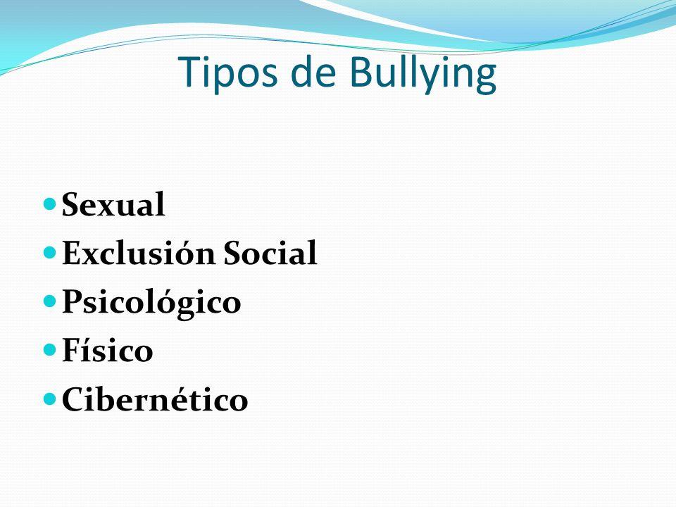 Tipos de Bullying Sexual Exclusión Social Psicológico Físico Cibernético