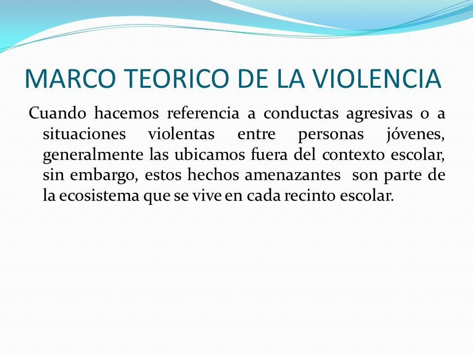 MARCO TEORICO DE LA VIOLENCIA Cuando hacemos referencia a conductas agresivas o a situaciones violentas entre personas jóvenes, generalmente las ubica
