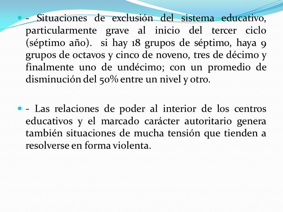 - Situaciones de exclusión del sistema educativo, particularmente grave al inicio del tercer ciclo (séptimo año). si hay 18 grupos de séptimo, haya 9