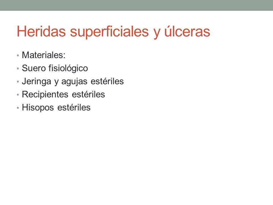 Heridas superficiales y úlceras Materiales: Suero fisiológico Jeringa y agujas estériles Recipientes estériles Hisopos estériles