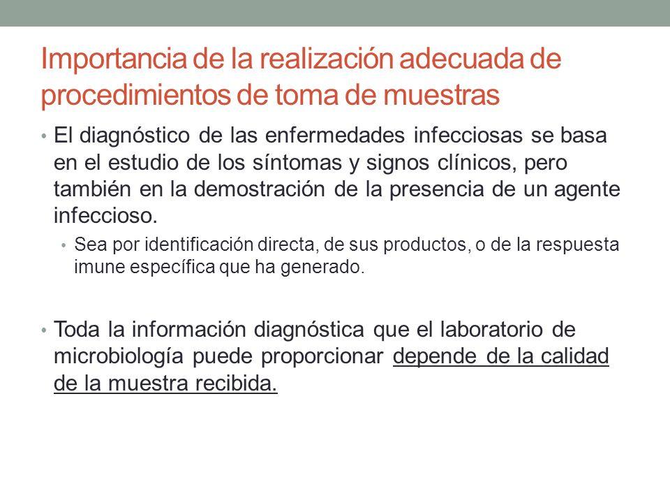 Importancia de la realización adecuada de procedimientos de toma de muestras Una toma de muestra mal realizada, mal transportada, o que se retarde en llegar al laboratorio puede determinar un fallo en la recuperación de los microorganismos patógenos.
