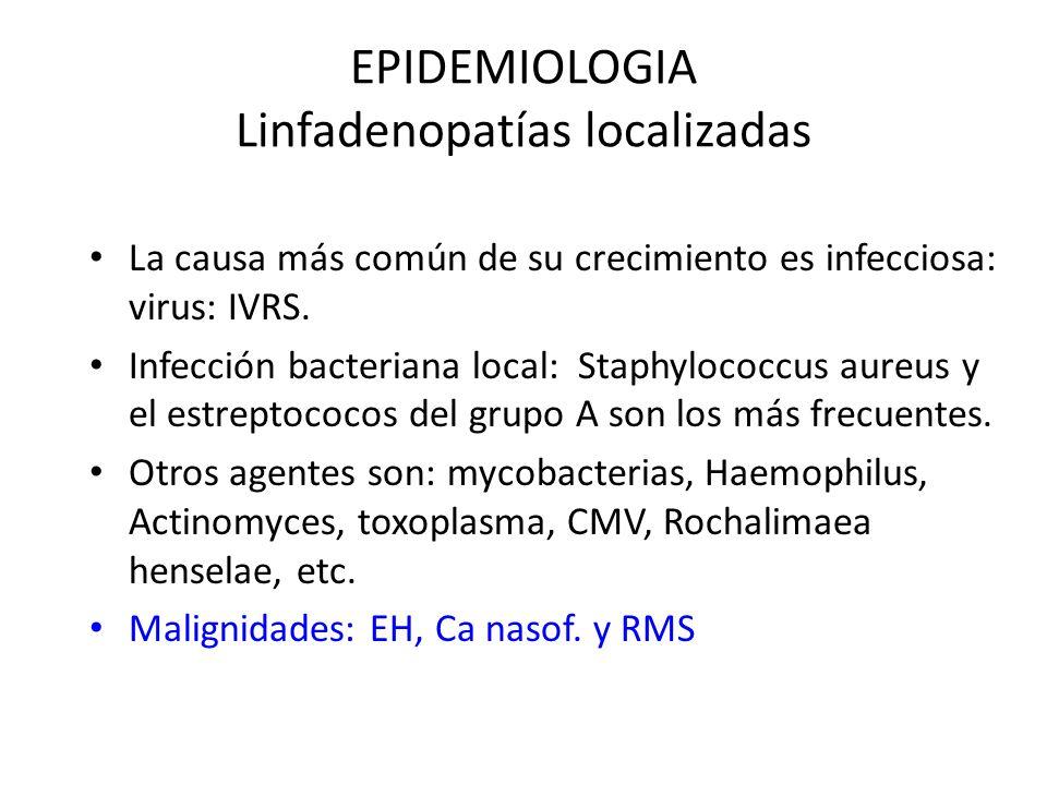 EPIDEMIOLOGIA Linfadenopatías localizadas La causa más común de su crecimiento es infecciosa: virus: IVRS. Infección bacteriana local: Staphylococcus