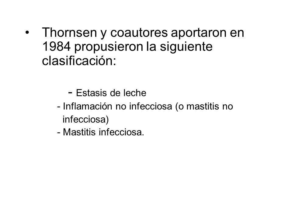 Thornsen y coautores aportaron en 1984 propusieron la siguiente clasificación: - Estasis de leche - Inflamación no infecciosa (o mastitis no infeccios