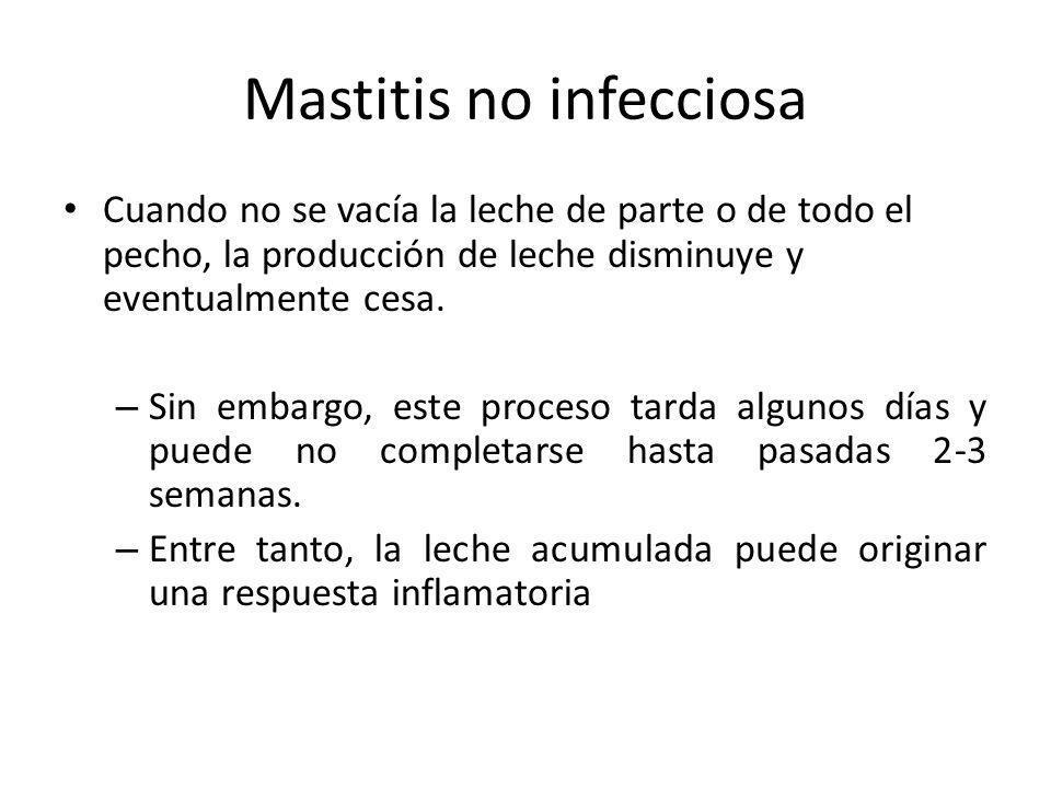 Mastitis no infecciosa Cuando no se vacía la leche de parte o de todo el pecho, la producción de leche disminuye y eventualmente cesa. – Sin embargo,