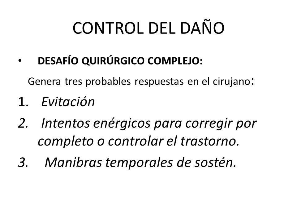 CONTROL DEL DAÑO CAUSAS DE MUERTE DE LOS PACIENTES SOMETIDOS A CIRUGIAS EXTENSAS: Hipotermia Coagulopatía = CATASTROFE Acidosis.