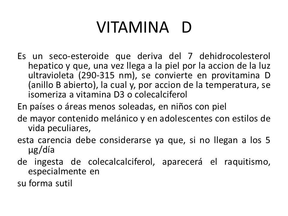 VITAMINA D Es un seco-esteroide que deriva del 7 dehidrocolesterol hepatico y que, una vez llega a la piel por la accion de la luz ultravioleta (290-3