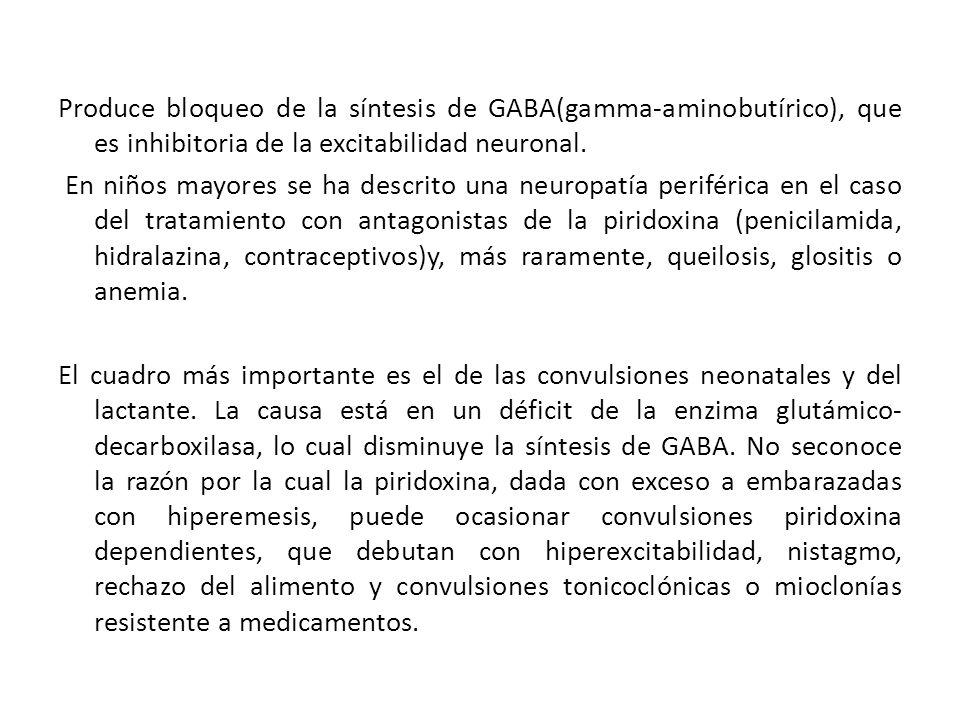 Produce bloqueo de la síntesis de GABA(gamma-aminobutírico), que es inhibitoria de la excitabilidad neuronal. En niños mayores se ha descrito una neur