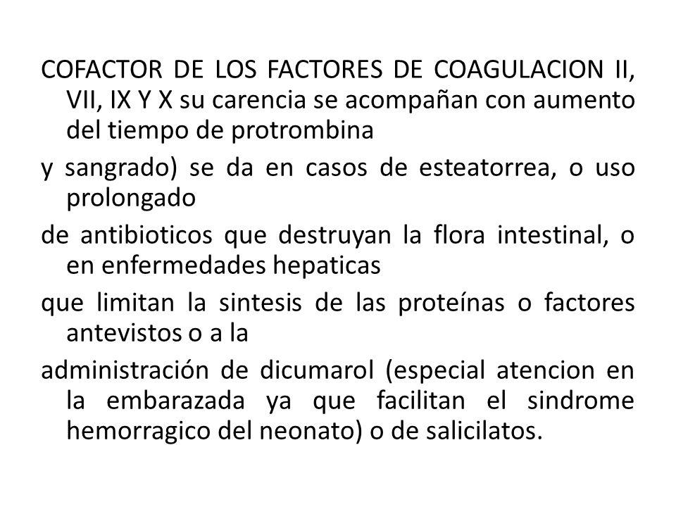 COFACTOR DE LOS FACTORES DE COAGULACION II, VII, IX Y X su carencia se acompañan con aumento del tiempo de protrombina y sangrado) se da en casos de e