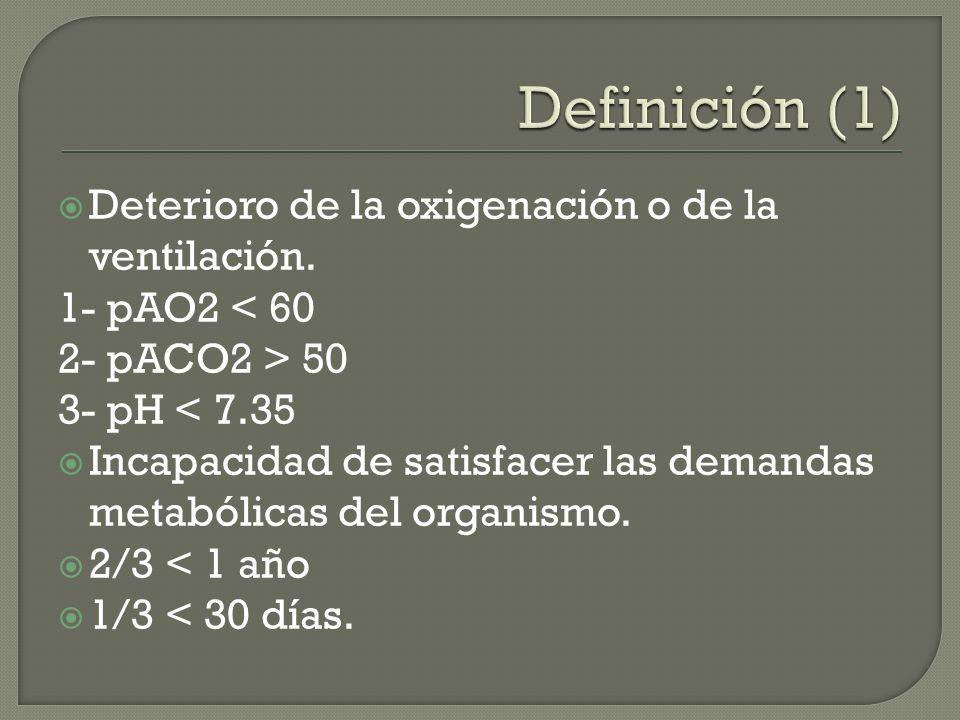 Deterioro de la oxigenación o de la ventilación. 1- pAO2 < 60 2- pACO2 > 50 3- pH < 7.35 Incapacidad de satisfacer las demandas metabólicas del organi