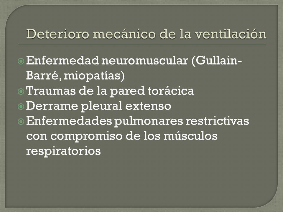 Enfermedad neuromuscular (Gullain- Barré, miopatías) Traumas de la pared torácica Derrame pleural extenso Enfermedades pulmonares restrictivas con com