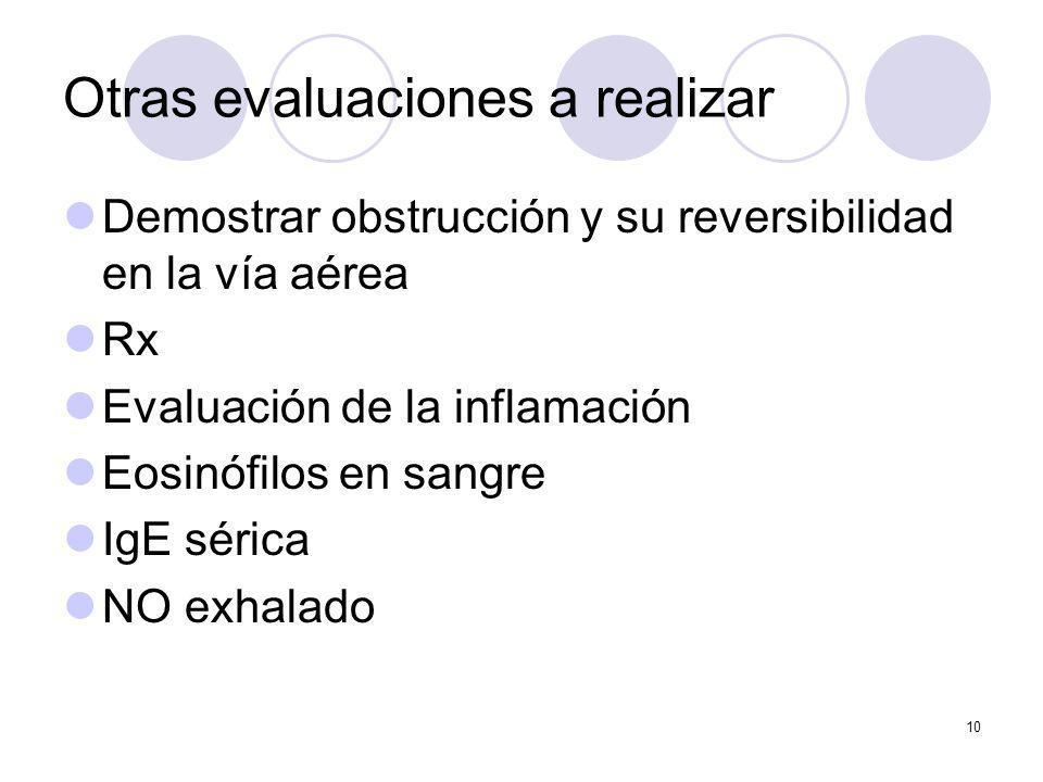 10 Otras evaluaciones a realizar Demostrar obstrucción y su reversibilidad en la vía aérea Rx Evaluación de la inflamación Eosinófilos en sangre IgE s