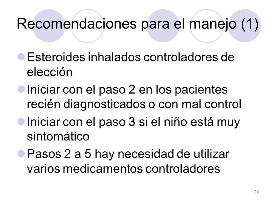 16 Recomendaciones para el manejo (1) Esteroides inhalados controladores de elección Iniciar con el paso 2 en los pacientes recién diagnosticados o co