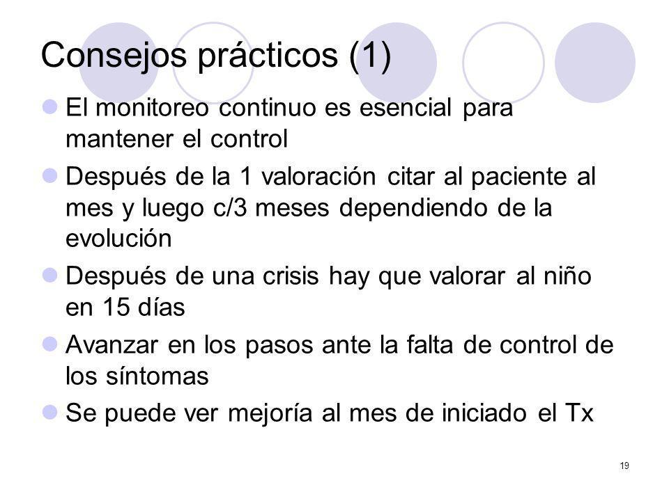 19 Consejos prácticos (1) El monitoreo continuo es esencial para mantener el control Después de la 1 valoración citar al paciente al mes y luego c/3 m