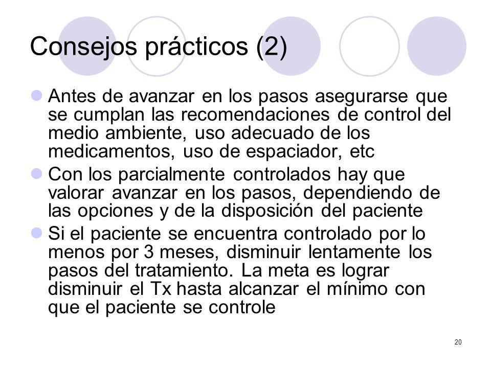 20 Consejos prácticos (2) Antes de avanzar en los pasos asegurarse que se cumplan las recomendaciones de control del medio ambiente, uso adecuado de l