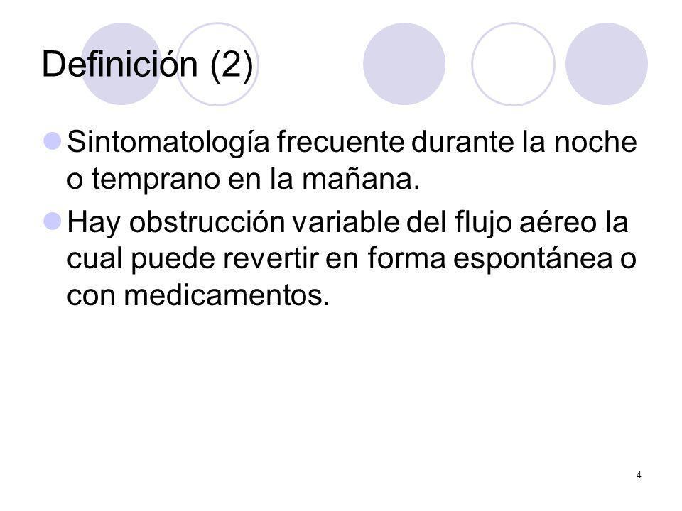4 Definición (2) Sintomatología frecuente durante la noche o temprano en la mañana. Hay obstrucción variable del flujo aéreo la cual puede revertir en