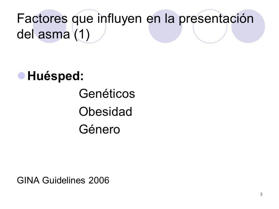 5 Factores que influyen en la presentación del asma (1) Huésped: Genéticos Obesidad Género GINA Guidelines 2006