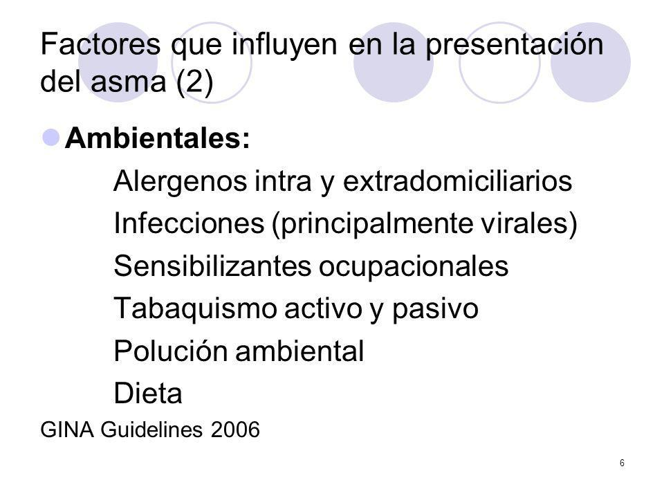6 Factores que influyen en la presentación del asma (2) Ambientales: Alergenos intra y extradomiciliarios Infecciones (principalmente virales) Sensibi