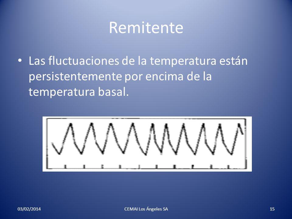 Remitente Las fluctuaciones de la temperatura están persistentemente por encima de la temperatura basal. 03/02/2014CEMAI Los Ángeles SA15