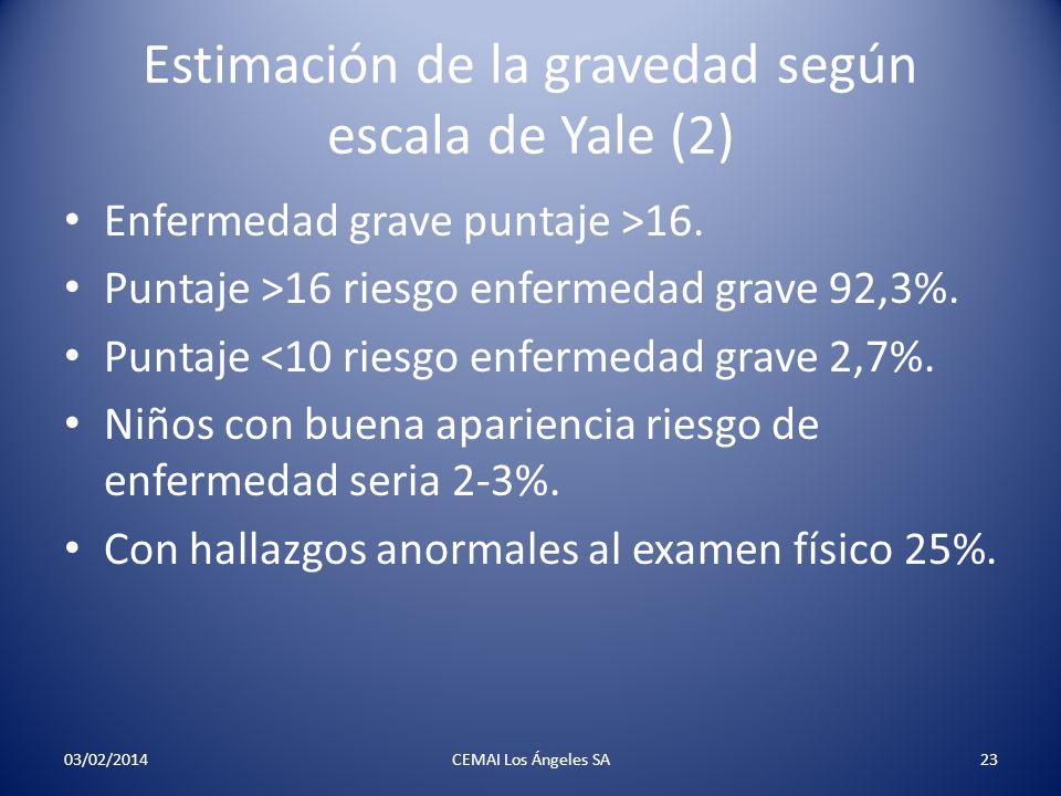 Estimación de la gravedad según escala de Yale (2) Enfermedad grave puntaje >16. Puntaje >16 riesgo enfermedad grave 92,3%. Puntaje <10 riesgo enferme