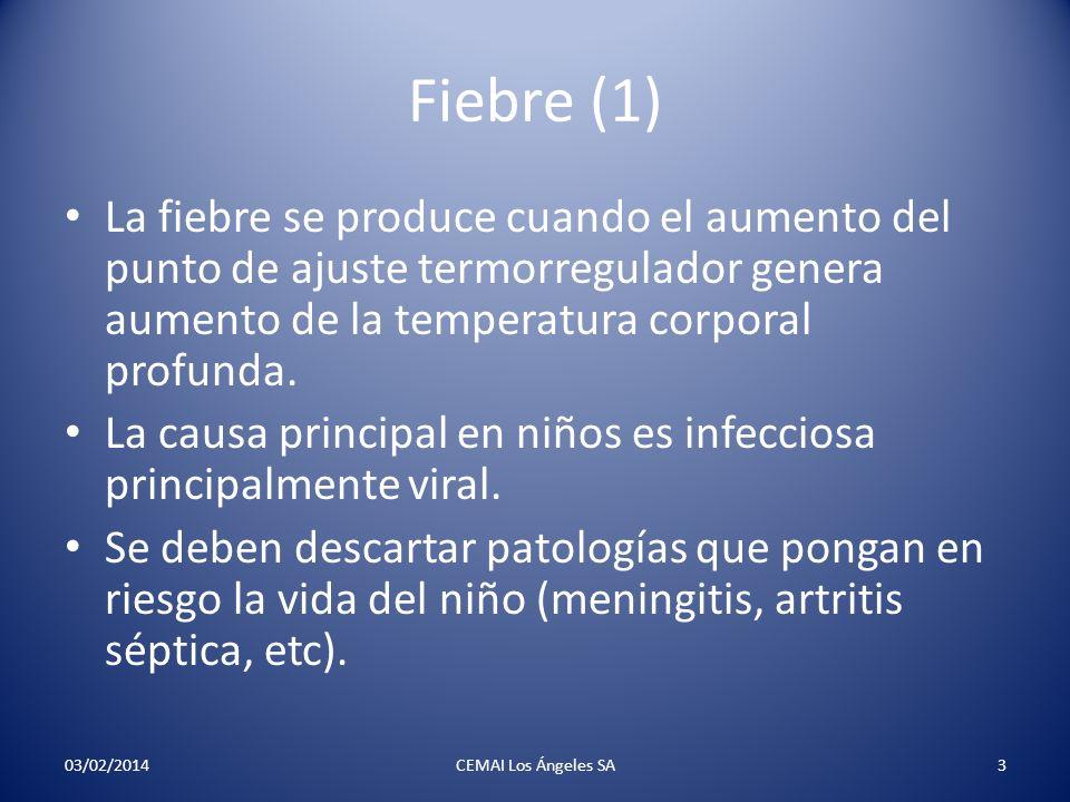 Fiebre (1) La fiebre se produce cuando el aumento del punto de ajuste termorregulador genera aumento de la temperatura corporal profunda. La causa pri