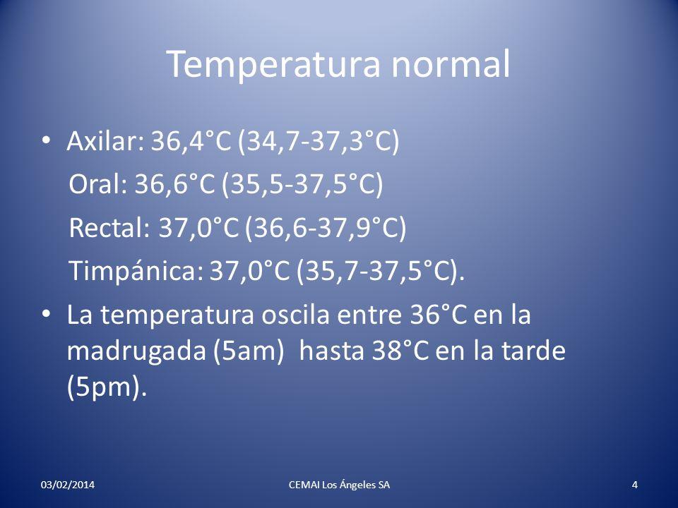 Temperatura normal Axilar: 36,4°C (34,7-37,3°C) Oral: 36,6°C (35,5-37,5°C) Rectal: 37,0°C (36,6-37,9°C) Timpánica: 37,0°C (35,7-37,5°C). La temperatur