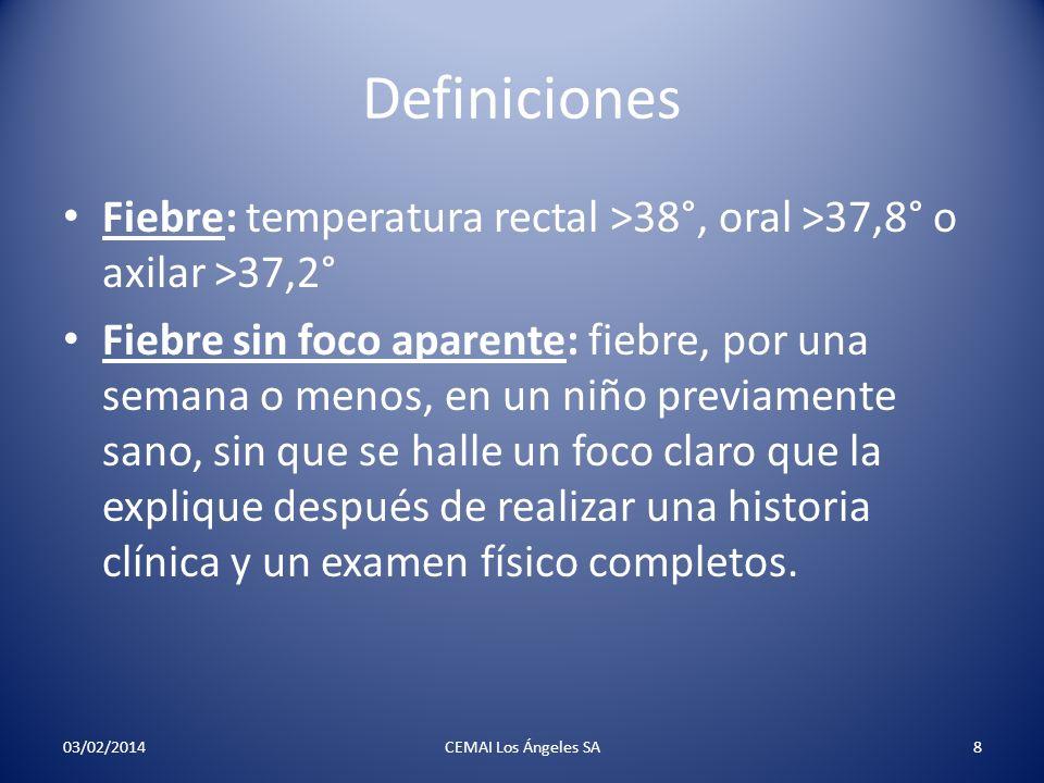 Definiciones Fiebre: temperatura rectal >38°, oral >37,8° o axilar >37,2° Fiebre sin foco aparente: fiebre, por una semana o menos, en un niño previam