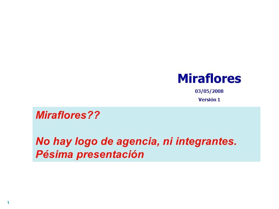 11 Miraflores 03/05/2008 Versión 1 Miraflores?? No hay logo de agencia, ni integrantes. Pésima presentación