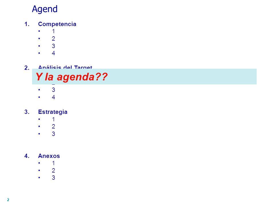22 Agend 1.Competencia 1 2 3 4 2.Análisis del Target 1 2 3 4 3.Estrategia 1 2 3 4.Anexos 1 2 3 Y la agenda??
