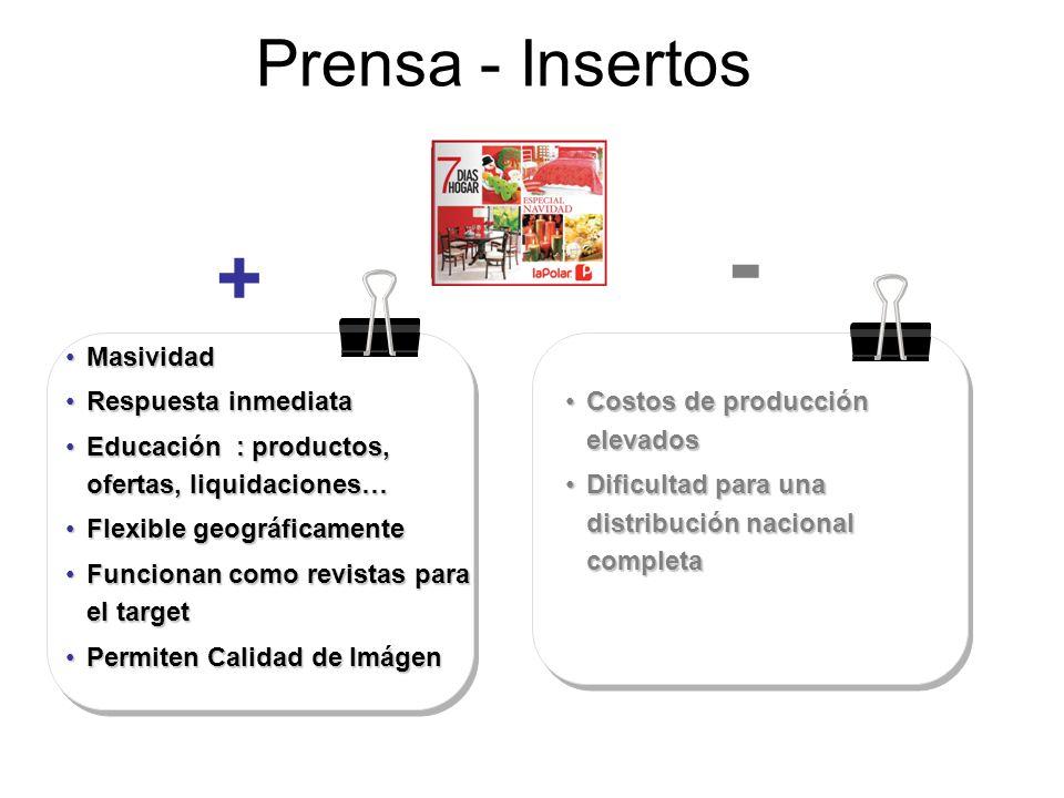 Prensa - Insertos MasividadMasividad Respuesta inmediataRespuesta inmediata Educación : productos, ofertas, liquidaciones…Educación : productos, ofert