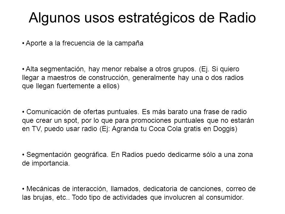 Algunos usos estratégicos de Radio Aporte a la frecuencia de la campaña Alta segmentación, hay menor rebalse a otros grupos. (Ej. Si quiero llegar a m