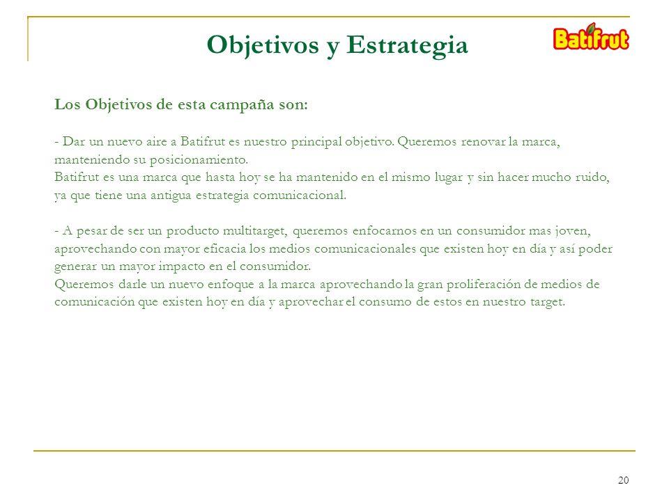20 Objetivos y Estrategia Los Objetivos de esta campaña son: - Dar un nuevo aire a Batifrut es nuestro principal objetivo.
