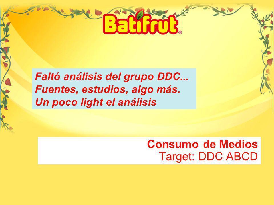 19 Consumo de Medios Target: DDC ABCD Faltó análisis del grupo DDC...