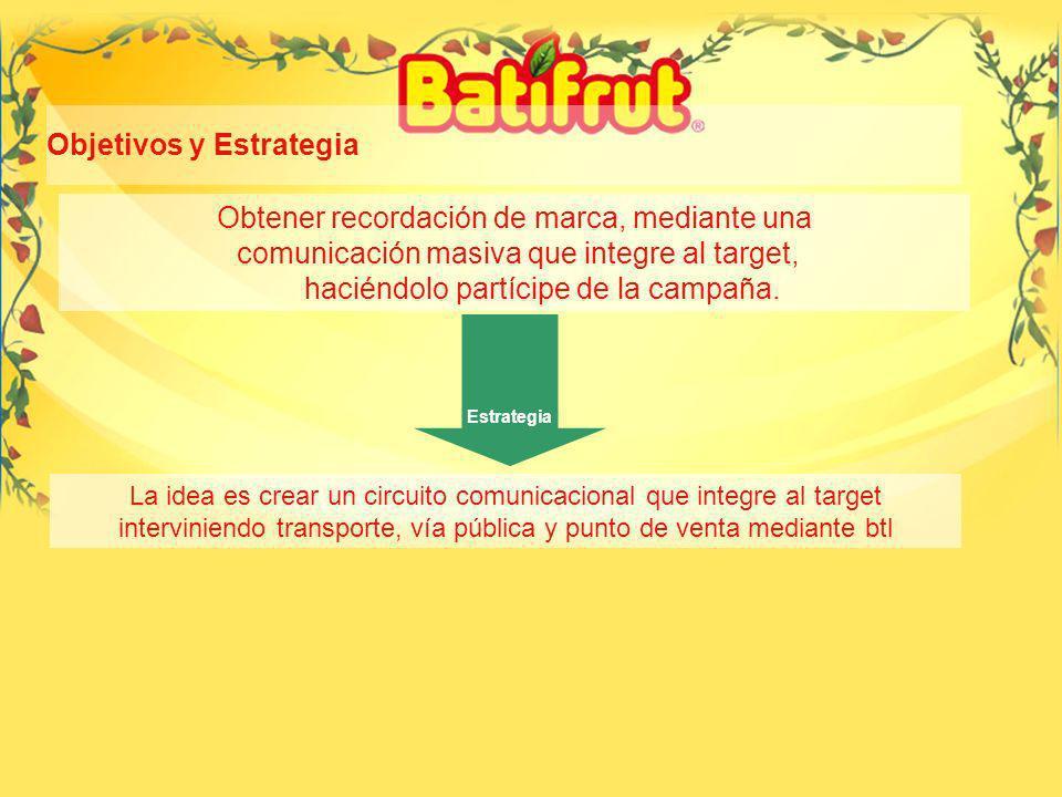 24 Objetivos y Estrategia Obtener recordación de marca, mediante una comunicación masiva que integre al target, haciéndolo partícipe de la campaña.