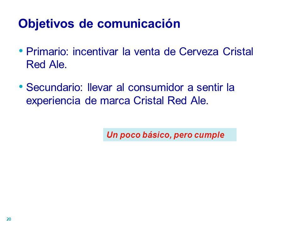 20 Objetivos de comunicación Primario: incentivar la venta de Cerveza Cristal Red Ale. Secundario: llevar al consumidor a sentir la experiencia de mar
