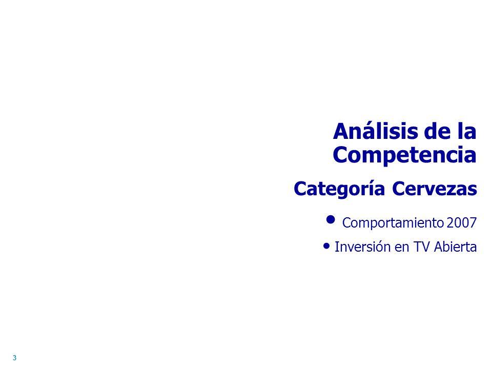 33 Análisis de la Competencia Categoría Cervezas Comportamiento 2007 Inversión en TV Abierta