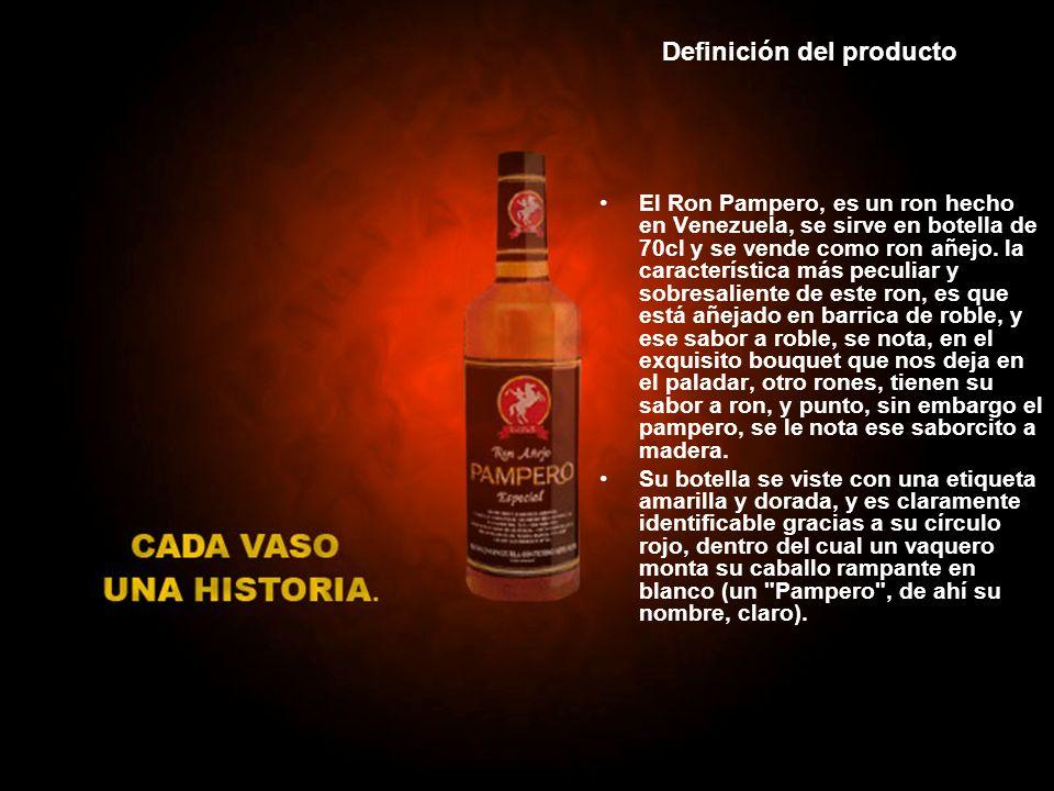 Definición del producto El Ron Pampero, es un ron hecho en Venezuela, se sirve en botella de 70cl y se vende como ron añejo. la característica más pec