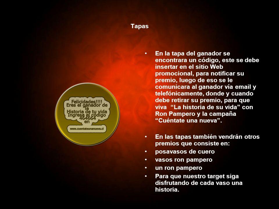 Tapas En la tapa del ganador se encontrara un código, este se debe insertar en el sitio Web promocional, para notificar su premio, luego de eso se le
