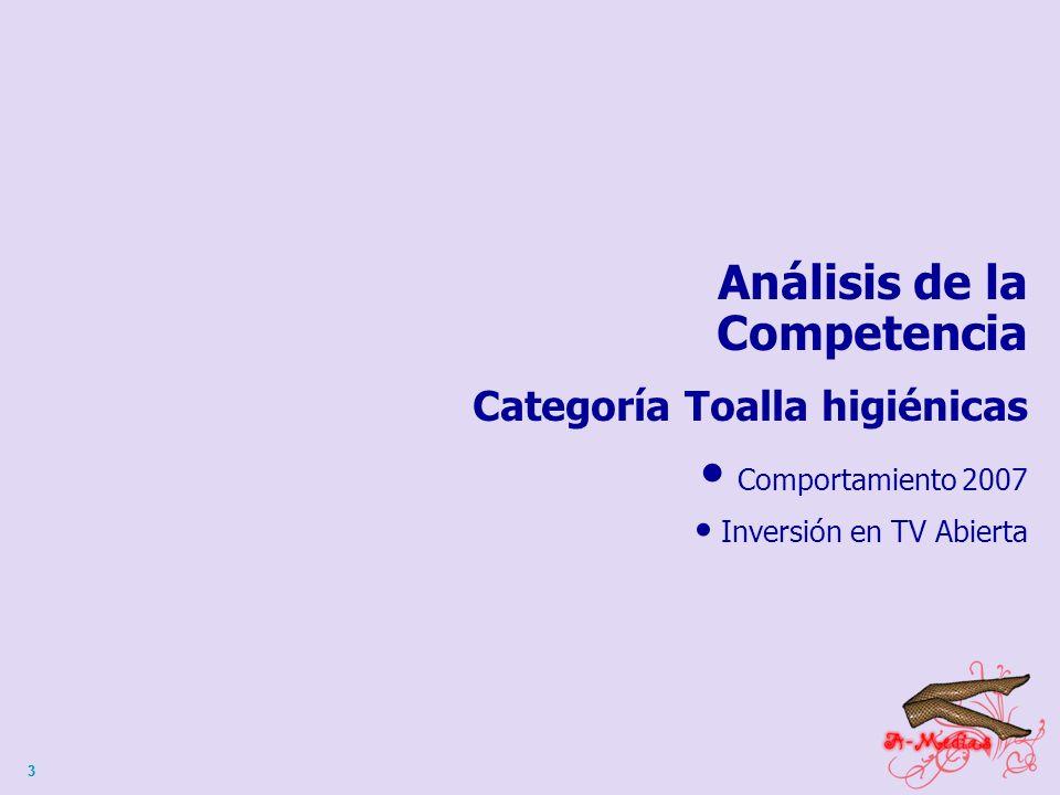 33 Análisis de la Competencia Categoría Toalla higiénicas Comportamiento 2007 Inversión en TV Abierta
