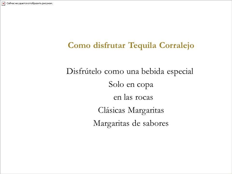Como disfrutar Tequila Corralejo Disfrútelo como una bebida especial Solo en copa en las rocas Clásicas Margaritas Margaritas de sabores