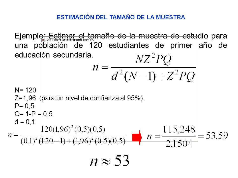 ESTIMACIÓN DEL TAMAÑO DE LA MUESTRA Ejemplo: Estimar el tamaño de la muestra de estudio para una población de 120 estudiantes de primer año de educaci