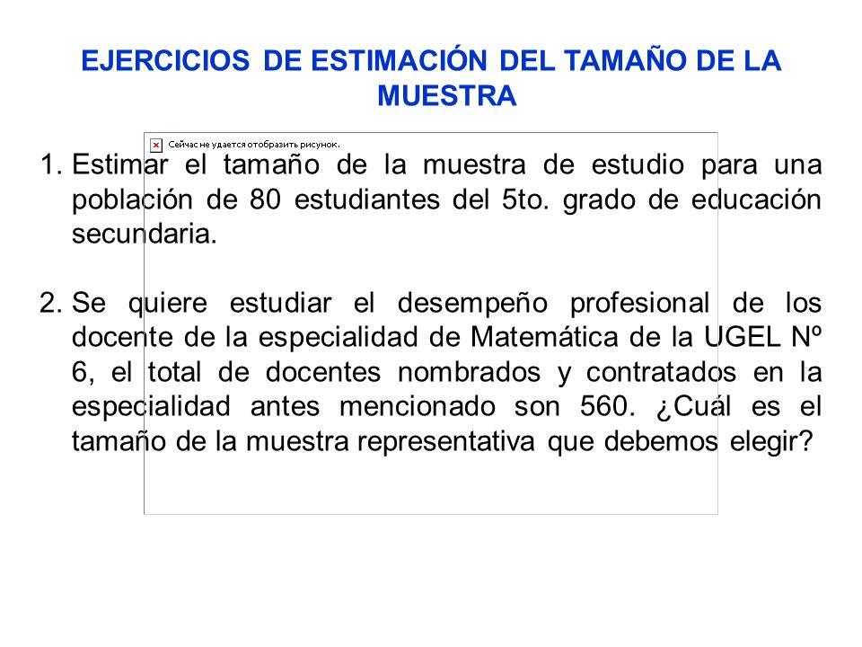 EJERCICIOS DE ESTIMACIÓN DEL TAMAÑO DE LA MUESTRA 1.Estimar el tamaño de la muestra de estudio para una población de 80 estudiantes del 5to. grado de