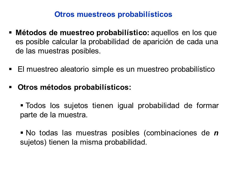 Otros muestreos probabilísticos Métodos de muestreo probabilístico: aquellos en los que es posible calcular la probabilidad de aparición de cada una d
