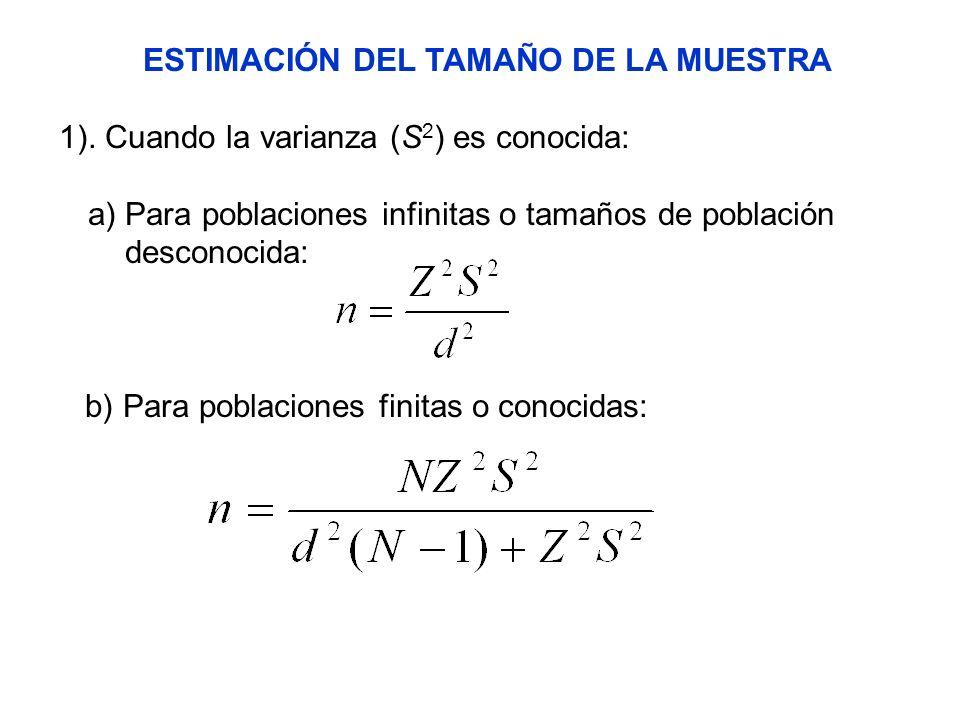 ESTIMACIÓN DEL TAMAÑO DE LA MUESTRA 1). Cuando la varianza (S 2 ) es conocida: a) Para poblaciones infinitas o tamaños de población desconocida: b) Pa