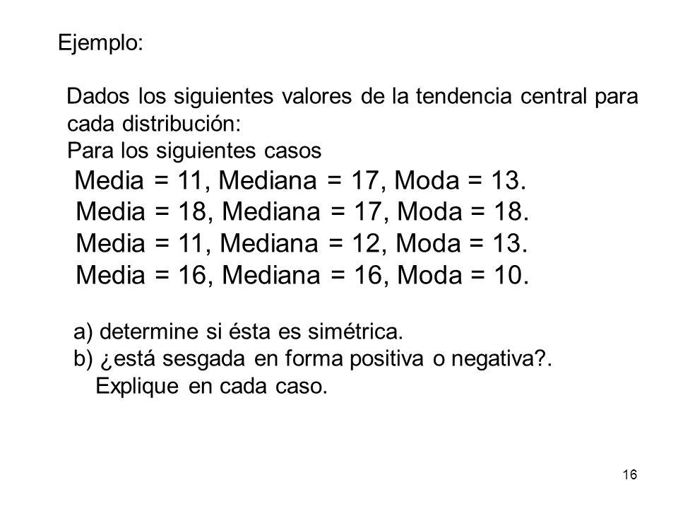 16 Dados los siguientes valores de la tendencia central para cada distribución: Para los siguientes casos Media = 11, Mediana = 17, Moda = 13. Media =