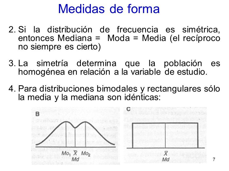 7 Medidas de forma 2.Si la distribución de frecuencia es simétrica, entonces Mediana = Moda = Media (el recíproco no siempre es cierto) 3.La simetría